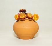 Flores secas em um potenciômetro cerâmico Fotos de Stock