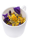 Flores secas en una taza blanca Imágenes de archivo libres de regalías