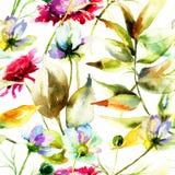 Flores selvagens estilizados ilustração royalty free