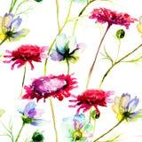 Flores selvagens estilizados ilustração stock
