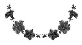 Flores selvagens pretas do bordado em um fundo preto Laço de imitação decoração da roupa elegante Teste padrão tradicional Fotografia de Stock Royalty Free