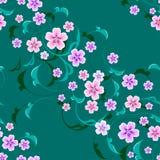 Flores sem emenda do vetor com as folhas no fundo Imagens de Stock
