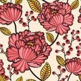 Flores sem emenda japonesas do teste padrão Imagem de Stock