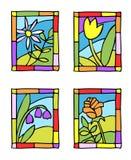 Flores simples del resorte. Vidrio manchado labrado. Foto de archivo libre de regalías