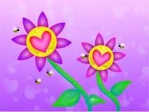 Flores soñadoras de la tarjeta del día de San Valentín Fotografía de archivo