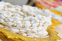 Flores tailandesas brancas para o casamento tailandês fotos de stock
