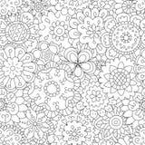 Flores Teste padrão sem emenda no estilo da garatuja e dos desenhos animados cor ilustração stock