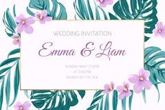 Flores tropicais da viola das hortaliças do convite do casamento Foto de Stock Royalty Free