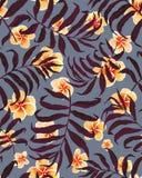 Flores tropicais do teste padrão e do plumeria das folhas de palmeira ilustração do vetor