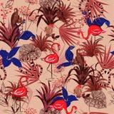 Flores tropicais do verão bonito do vintage, folhas de palmeira, selva foto de stock royalty free