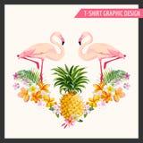 Flores tropicais e projeto gráfico do flamingo ilustração royalty free