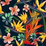 Flores tropicais e teste padrão sem emenda dos leavbs ilustração stock