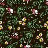 Flores tropicales bordado Golpeteo inconsútil dibujado mano del vector Imagenes de archivo