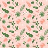 Flores tropicales del fondo inconsútil del estampado de flores, pájaros de las hojas de palma de la selva libre illustration