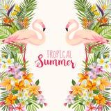 Flores tropicales Pájaro acuático del flamenco Fondo tropical ilustración del vector