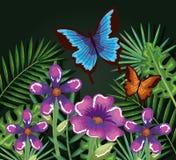 Flores tropicales y del exotics con las mariposas Foto de archivo