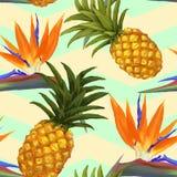 Flores tropicales y piña exóticas inconsútiles Fotografía de archivo libre de regalías