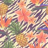 Flores tropicales y piña exóticas inconsútiles Imagen de archivo
