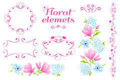 Flores variadas dos ornamento da magnólia ilustração royalty free