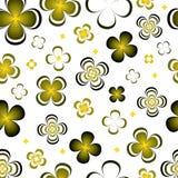 Flores verdes amarelas do sumário monocromático no fundo branco ilustração royalty free