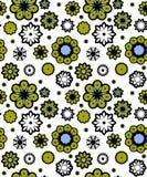 Flores verdes e azuis sem emenda ilustração royalty free