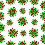 Flores verdes em um teste padrão branco do fundo Ilustração do Vetor