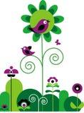 Flores verdes y púrpuras con la mariposa y los pájaros Fotos de archivo
