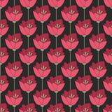 Flores vermelhas da meia-noite Fundo sem emenda ilustração do vetor