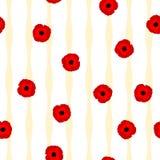 Flores vermelhas das papoilas do teste padrão floral sem emenda e linhas amarelas Imagens de Stock