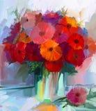 Flores vermelhas do gerbera da pintura a óleo no vaso Fotos de Stock