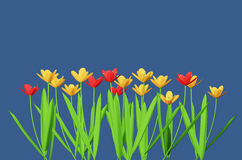 Flores vermelhas e amarelas isoladas no azul ilustração do vetor