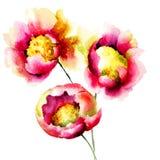 Flores vermelhas estilizados Foto de Stock Royalty Free