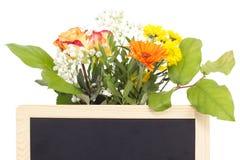 Flores vernales detrás de la pizarra en blanco imagen de archivo