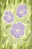 Flores violetas del mosaico en fondo verde Foto de archivo libre de regalías