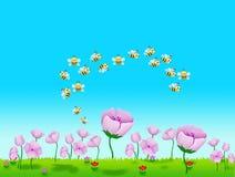 Flores y abeja Foto de archivo