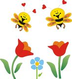 Flores y abejas libre illustration