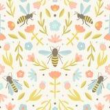 Flores y abejas lindas stock de ilustración