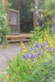 Flores y abejas púrpuras y amarillas a lo largo del camino del jardín Foto de archivo