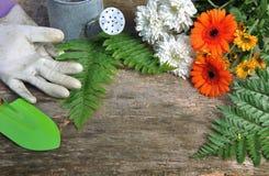 Flores y accesorios del jardín Imagen de archivo libre de regalías