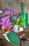 Flores y accesorios que cultivan un huerto Imagenes de archivo