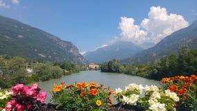 Flores y casa en el río fotos de archivo