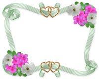 Flores y cintas de la frontera de la invitación de la boda Imagenes de archivo
