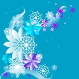 Flores y copos de nieve Imágenes de archivo libres de regalías