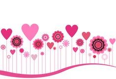 Flores y corazones florecientes stock de ilustración