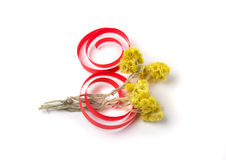 Flores y decoración amarillas del papel al día de las mujeres Fotografía de archivo libre de regalías