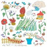 Flores y decoraciones del jardín Plantas y pájaros libre illustration