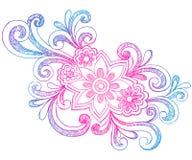 Flores y Doodles incompletos del cuaderno de los remolinos Foto de archivo libre de regalías