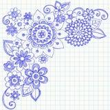 Flores y Doodles incompletos del cuaderno de los remolinos Imágenes de archivo libres de regalías