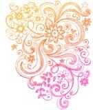 Flores y Doodles incompletos del cuaderno de los remolinos Imagen de archivo libre de regalías