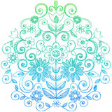 Flores y Doodles incompletos del cuaderno de los remolinos stock de ilustración